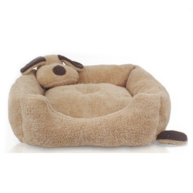 Cosy Square Bed w Dog Head - Brown
