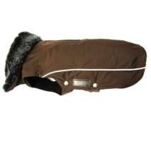 Narvik Fleece Coat Fur Collar - Brown