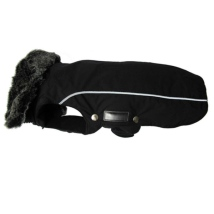Narvik Fleece Coat Fur Collar - Black