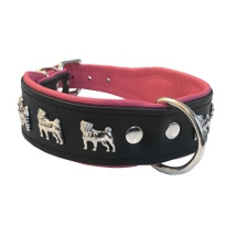 Dogville Collar w Dog Decorations Pug - Black/Pink