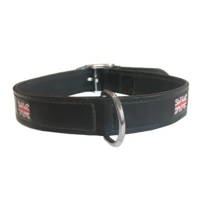 Union Jack Leather Collar -  Black