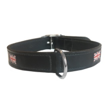 Union Jack Leather Collar -  Black