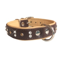 Orion Leather Collar w Colored Crystals - Brown/Beige