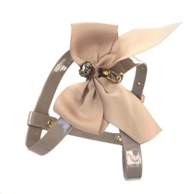 Glossy Elegantis Beige Harness w Bow & Big Diamond