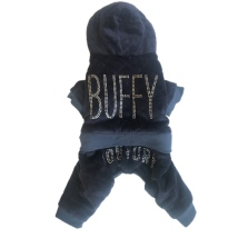 Buffy 4-legs Plush Rhinestone Suit - Navy Blue