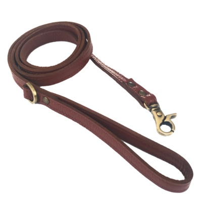 Short Leather Leash w Brass Buckle - Congnac