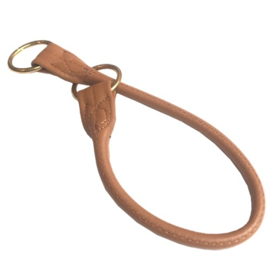 North Cape Elk Leather Collar Choke Brass Buckle - Tan