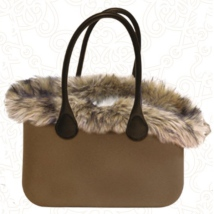 Mrs. Fashion Rubber Bag with Fur - Brown