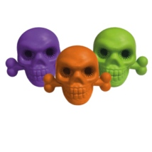 Scary Rubber Toy Skull and Bone - Mixed Colors Purple/Orange/Green