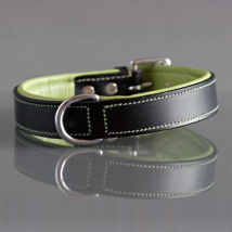 COLLAR BLACK AND GREEN LEATHER