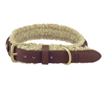 Meldon Vegan Leather Collar w Fur and Brass Buckle - Brown