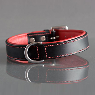 COLLAR BLACK AND RED LEATHER