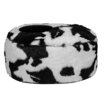 Oval Pet Basket Cow Pattern - Blck/White