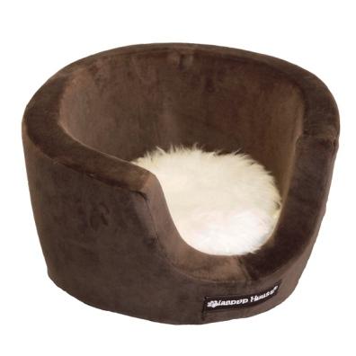 Cosy Velour Basket w Fur Cushion - Brow