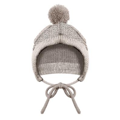 Knitted Hat Irish Ecru with Pom Pom - Sand
