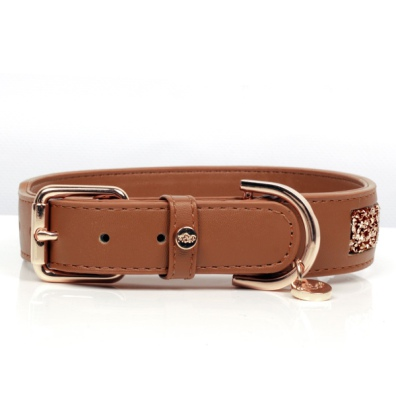 Quarts Vegan leather Collar - Cognac