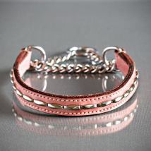 PINK  HALF CHECK COLLAR - LEATHER W SOFT RIVETS