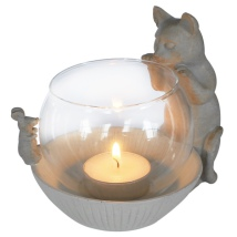 Tealight Holder Cat and Mouse - Beige