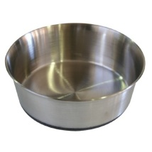 Steel bowl with heavy rubber base